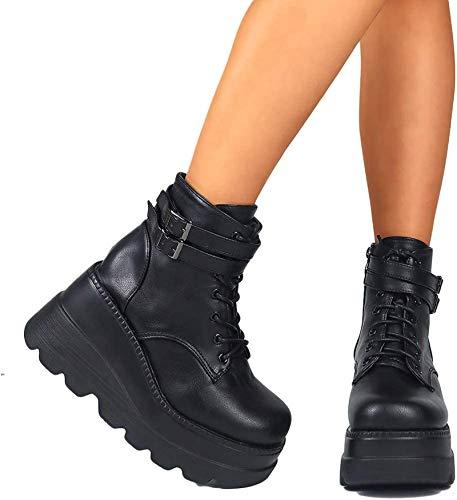 XHHXPY Damen Plateau Gothic Schnürstiefeletten Blockabsatz High Heels Biker Boots Punk Gefüttert Schuhe britischer Stil Größe 35-43,Schwarz,40