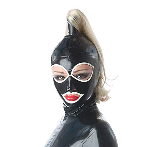 Latex Hood mask Holiday Rubber with Big Eye Trim Hood Single Ponytail with Wigs Latex Mask for Catsuit Wear Party Mask (XXL, with Wigs)