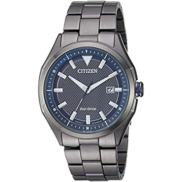 Men's Citizen Eco-Drive AW1147-52L Watch with Blue Dial and Black Bracelet