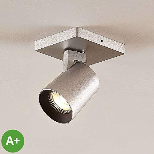 Lampenwelt Strahler 'Iavo' (Modern) in Alu aus Metall u.a. für Flur & Treppenhaus (1 flammig, GU10, A+) - Deckenlampe, Deckenleuchte, Lampe, Spot, Flurleuchte