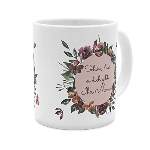 printplanet® Tasse mit Namen personalisiert - Motiv Blumenkranz - individuell gestalten - Farbvariante Weiß