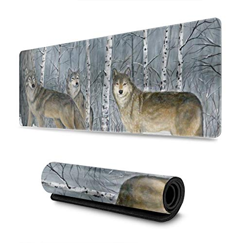 Snow Wolves Design Pattern XXL XL Large Gaming Mouse Pad Mat Long Extended Mousepad Desk Pad Non-Slip Rubber Mice Pads Stitched Edges (31.5x11.8x0.12 Inch)