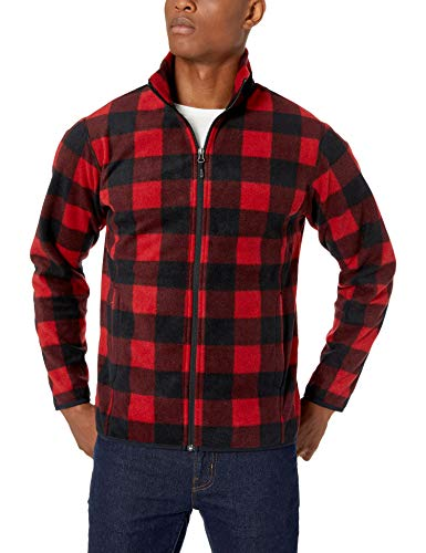 Amazon Essentials Men's Full-Zip Polar Fleece Jacket, Red Buffalo, X-Large