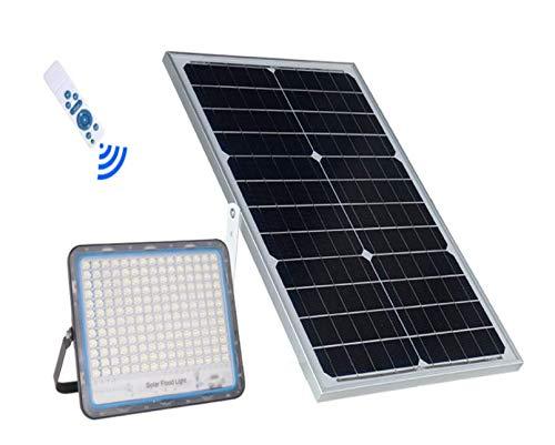 Foco LED 8200 de exterior, 200 W, 6500 K, blanco frío, con mando a distancia, panel solar fotovoltaico, energía solar