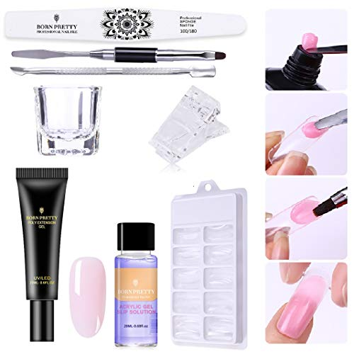 BORN PRETTY Pink Nude Nail Quick Building Poly Gel Set 20ml Jelly Builder Finger Extension UV Gel Lacquer 8 Pcs/Set