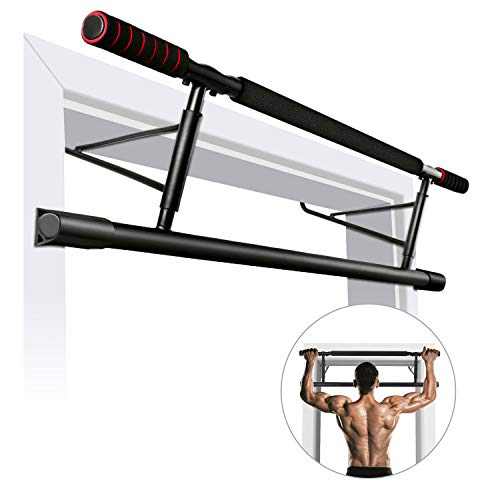 ROMIX Unisex's 0107 Pull Up Bar for Door Frames, Padded Handles, Chin Up Bar, Heavy Duty Bar Hooks, Endurable for Hanging, Mounting Workout in Home, Gym, Indoor Fitness Exercise