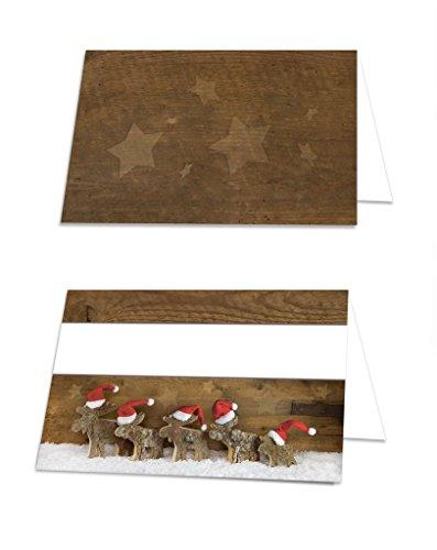 100 Stück Weihnachten Tisch-Aufsteller Gastro-Bedarf weihnachtlich RENTIER rot weiß braune Tischkarten Namens-Schilder Sitzkarten Platzkarten zum Hinstellen als Dekoration für Angebote Weihnachtsfeier Tischdeko