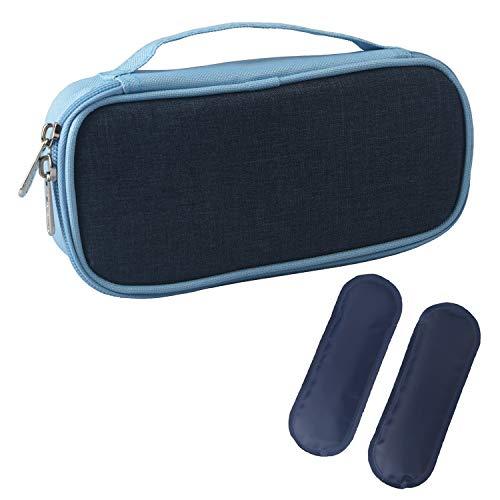 Insulin Kühltasche Diabetiker Tasche für Medikamente Thermotasche aus Oxford-Stoff und Alufolien (S Blau mit Tragegriff + 2 Kühlakkus)