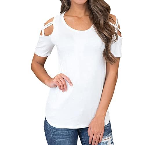 N\P Verano Color Sólido De Manga Corta Camiseta De Las Señoras Casual Fuera Del Hombro Camiseta