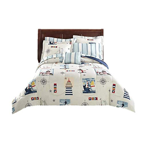 Blue Red Lighthouse Beach Nautical Twin Comforter Set (6pc Bed in a Bag)