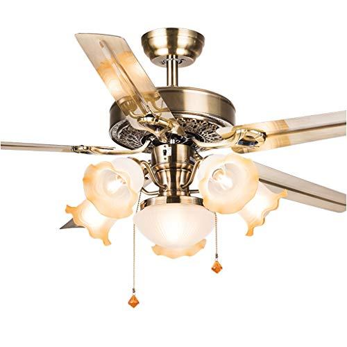ZCX Country Deckenventilator Licht Restaurant Wohnzimmer antiker Lüfter Kronleuchter Eisen Blatt Fan Licht mit LED Deckenventilator Licht (Color : A 52, Size : Dual Control)