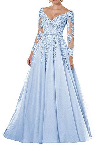 Vintage Abendkleider Lang Spitzen Ballkleider Brautmutterkleider A-Linie Hochzeitskleid Langarm Maxikleider Hellblau 40