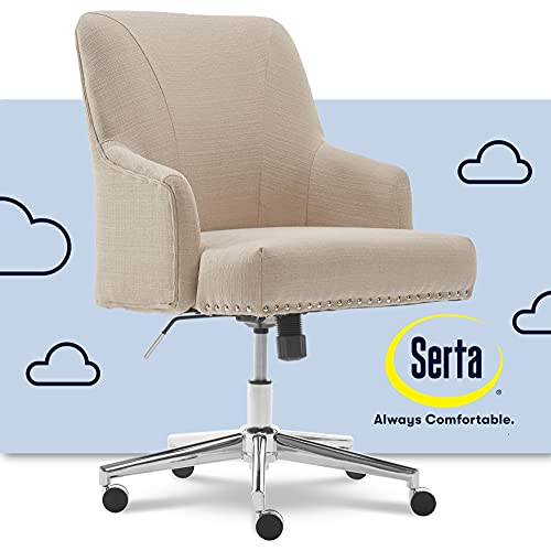 Serta Leighton Home Office Memory Foam, Height-Adjustable Desk Accent Chair with Chrome-Finished Stainless-Steel Base, Twill Fabric, Stoneware Beige