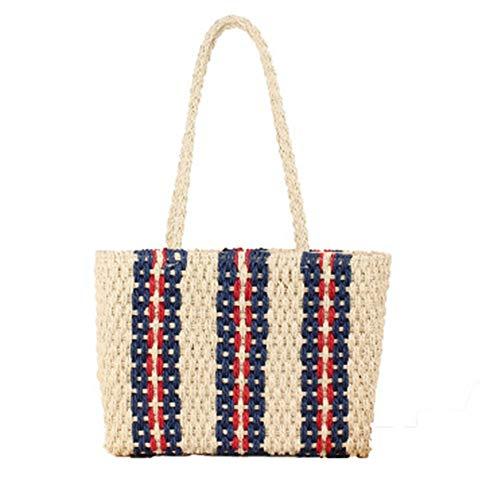 Strotas voor reizen, dames, gestreept, verticale schoudertassen van stro, voor de zomer, met patroon, voor vakantie, strand, shopping, crossbody