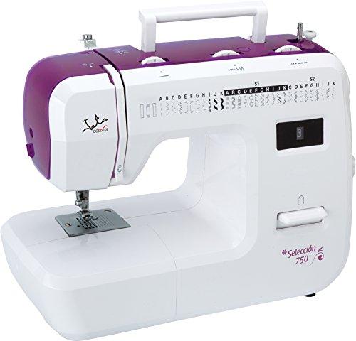 Jata MC750 Máquina de Coser con 31 diseños de Puntada y Ojal en 4 Tiempos, PVC, Blanco con Detalles en Rosa, MC750-Máquina