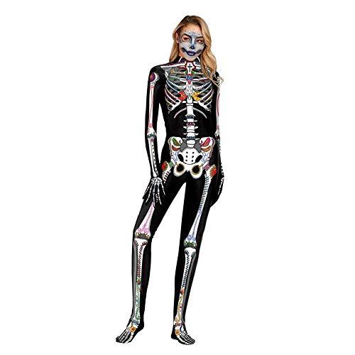 libelyef Disfraz de Zombie de Horror, Disfraz de Disfraz de Zombie 3D para Mujer, Disfraz de Uniforme para Halloween, Carnaval, Fiesta temática, Fiesta de Terror, Cosplay, A, M(WB141-002)