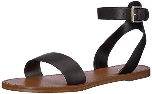 ALDO Women's CAMPODORO Flat Sandal, Black Leather, 6 B US