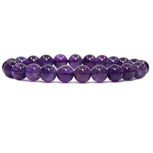 Natural A Grade Amethyst Gemstone 8mm Round Beads Stretch Bracelet 7' Unisex