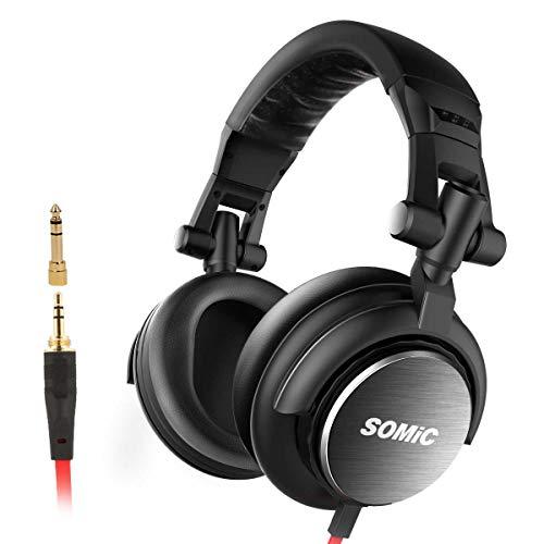 Somic MM185 Studio-Stereo-Monitor-DJ-Kopfhörer, klappbares Over-Ear-HiFi-Musik-Headset mit Rauschunterdrückung, Stereo-Sound, 3,5 / 6,5-mm-Stecker