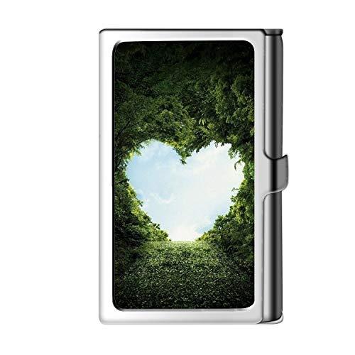 Diseño de la tarjeta de visita de la astilla de la tarjeta de visita, caja del crédito de la cartera del nombre del acero inoxidable del metal para los hombres y Mujer-en forma de corazón