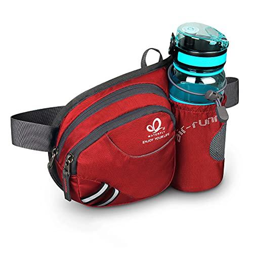 WATERFLY Gürteltasche Bauchtasche mit Flaschenhalter Damen und Herren, Atmungsaktiv Sport Hüfttasche für Laufen Radfahren Camping Klettern Reisen Wandern Joggen Hundetraining(Rot)