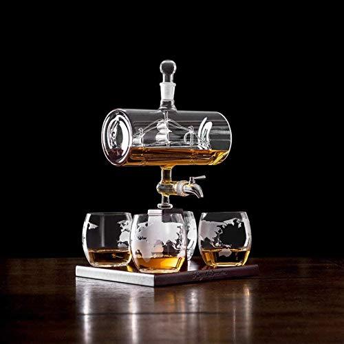 KPTKP Decantador de Whisky único con 4 Gafas y Estante de Roble, dispensador de Bebidas sin Plomo 500 ml para Whisky escocés Gin Ron Brandy vodk Bourbon Alcoholic