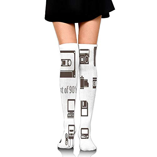 Casepillows Gadget of 90s Icons patroon met desktop computer video Game Joystick Nostalgia Vrouwen Fashion Over The Knee High Socks (60cm)