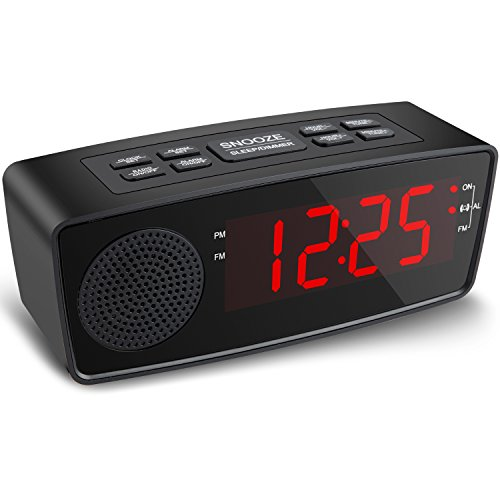 Alarm Clock, Alarm Clock with FM Radio, USB Charging Ports for Bedrooms (Red)