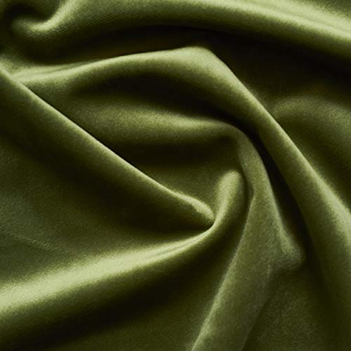 Solid Drapery/Upholstery Soft Velvet Fabric Color Olive Green by The Yard
