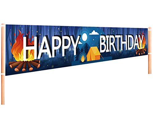 Large Camping Happy Birthday Banner | Camping Birthday Party Supplies Decorations | Birthday Camping Party Decorations for Yard Garden Outdoor - 9.8 x 1.6FT