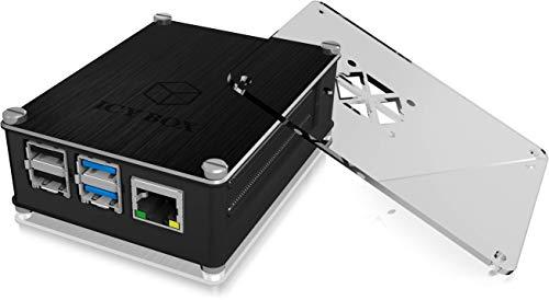 ICY BOX Raspberry Pi 4 Gehäuse, Aluminium und Acryl wechselbar, luftdurchlässiges Seitengitter, Kühlkörper