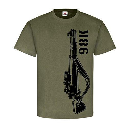 Scharfschützen Karabiner 98K Gewehr Sniper Waffe System Modell - T Shirt #17578, Farbe:Oliv, Größe:Herren M
