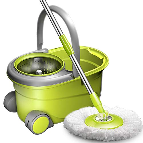 PBQWER Spin Mop and Bucket with 2 Microfiber Head Spinning Mop Bucket Floor Cleaning System Separates Clean and Dirty Water to Get Floors Cleaner