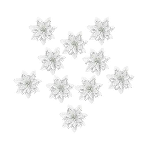 Minyue - Flores artificiales de Navidad, diseño de flores de seda con purpurina, para árbol de Navidad, decoración de bodas, 14 cm, color plateado
