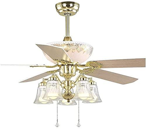 wangYUEQ Ventilador de techo silencioso de 5 hojas, color oro europeo, ventilador de techo, luz de madera, E27 x 5 habitación, ventilador eléctrico, ahorro de energía, 48 pulgadas