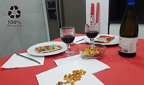 bissu - Mantel DE Papel Damascado Desechable Antimanchas para Mesas de Comedor y Cocina Rectangulares de Colores | Rollo de 25 x 1.18 Metros. Biodegradable (Color Rojo)