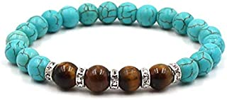 REBUY® Firoza/Turquoise Stone Bracelet with Tiger Eye Stone 8 mm Beads Reiki Crystal Healing Stone Bracelet for Men and Women