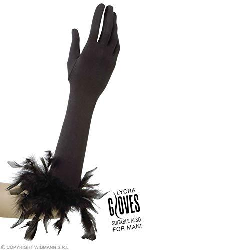 Widmann Gants en élasthanne/plumes pour adultes, noir, 37 cm, vd-wdm1446 F