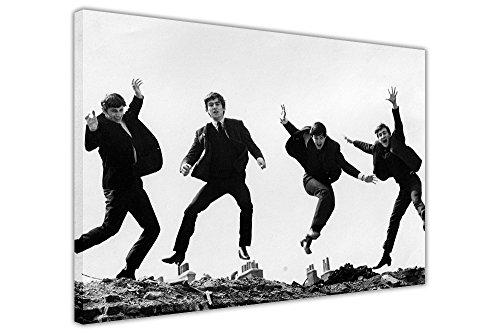 Schwarz und Weiß The Beatles Jumping Kunstdruck auf Leinwand Art Wand Bilder Raum Dekoration John Lennon Paul McCartney, canvas holz, schwarz / weiß, 7- 30
