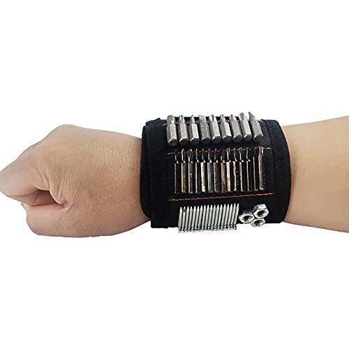 2 pulseras magnéticas, con 15 imanes potentes, forro de malla transpirable ajustable magnética fuerte N40, para sujetar herramientas, clavos, brocas, gadgets para hombres, manitas de bricolaje