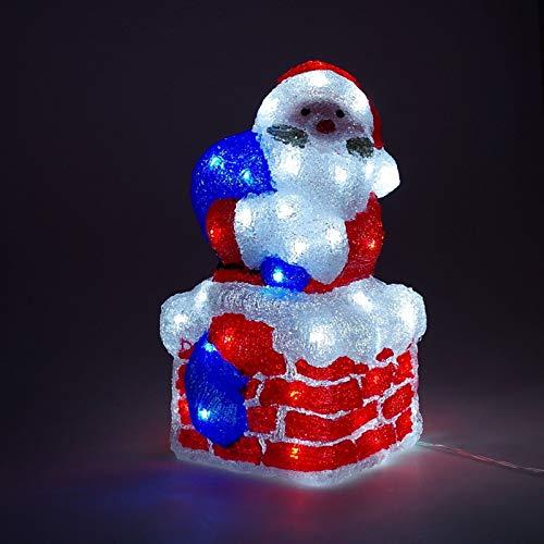 LED Weihnachtsmann Santa Claus Weihnachtsfigur aus Acryl für den Innen- und Außenbereich mit 60 LED\'s IP44