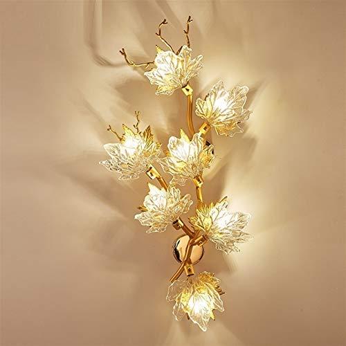 yywl Lámpara de Pared Lámpara de Cristal de la lámpara de Pared de la Hoja de Arce de diseño de Lujo de Color marrón Claro Creativo de Hotel lámpara del salón de la decoración LED