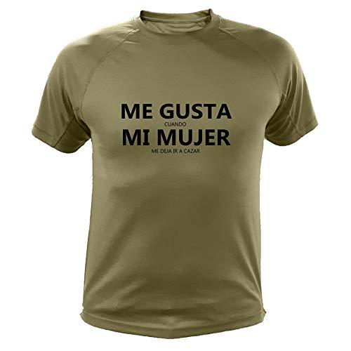 AtooDog Camiseta de Caza, Me Gusta Cuando mi Mujer me Deja IR a Cazar (30170, Verde, L)
