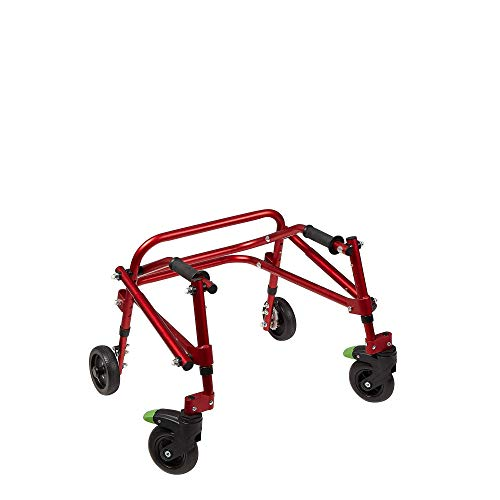 Klip Lightweight Medical Posterior Rollator Walker/Gait Trainer 4 Wheel - for Toddlers, Kids, Teens with Special Needs, Cerebral Palsy - Durable, Height Adjustable, Foldable Design - (X-Small), Red