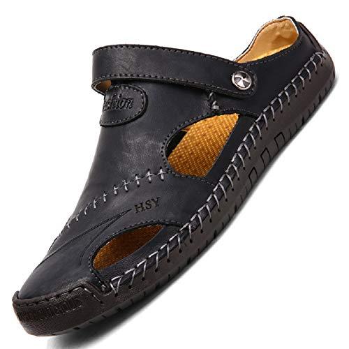 tqgold Flip Flops Herren Sandalen Sommer Leder Strandschuhe Hausschuhe Slipper Clogs Zehentrenner aus Rindsleder(Schwarz,Größe 44)