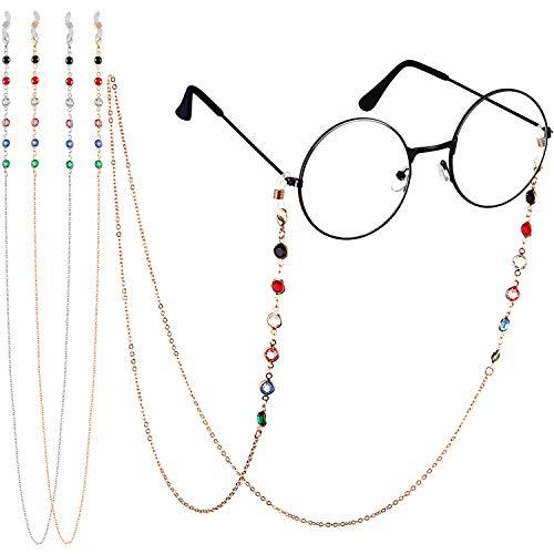 2 Stück Perlen Brillen Ketten für Frauen Bunte Perlen Sonnenbrillen Kette Lesen Brillenhalter Riemen Kordel Lanyard Brillenhalter