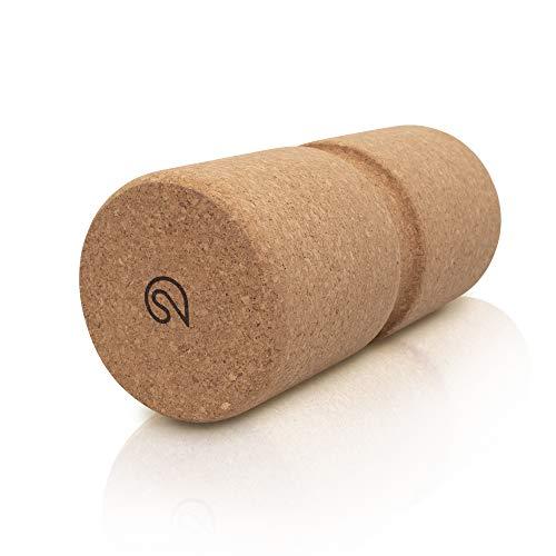 SHANTI NATION - Rodillo fascial – con ranura para la columna vertebral – de corcho – para fitness, yoga y pilates – Rollo de corcho para masaje.