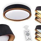LED Deckenlampe Beade, runde Deckenleuchte aus Kunststoff in Schwarz- Gold, dimmbare Innenleuchte mit Fernbedienung, 1 x LED 24 Watt, max. 2000 Lumen, 2700-...