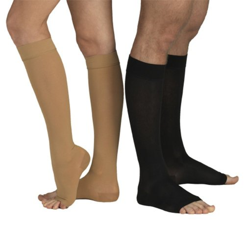 23-32 mmHg KOMPRESSIONS KNIESTRÜMPFE Stütz Socken AD, Medizinische Klasse KKL II, CCL 2 Strümpfe ohne Fußspitze (S (170-182 cm), Schwarz)