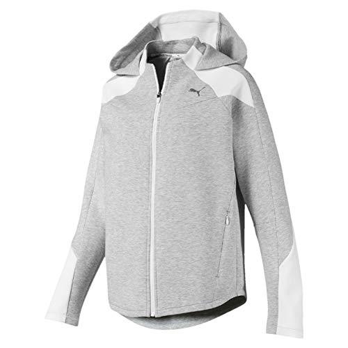PUMA Damen Evostripe Sweatjacke-Grau, Weiß Jacken, M